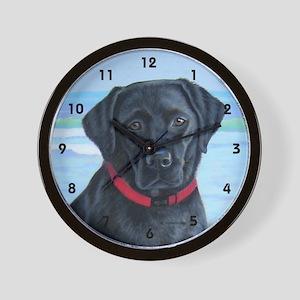 Black Lab on Beach Wall Clock
