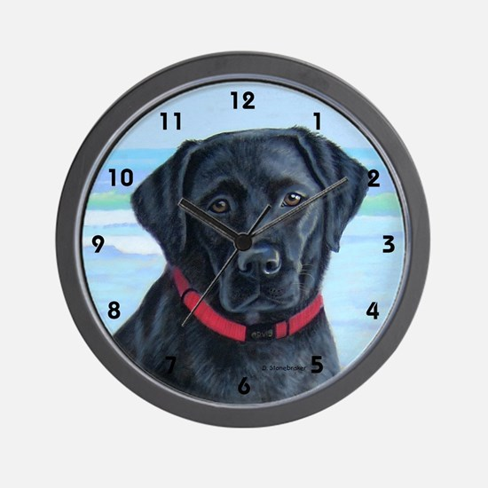 Black Lab on Beach Wall Clock