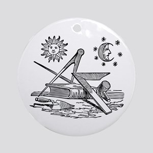 Masonic Square and Compass Ornament (Round)
