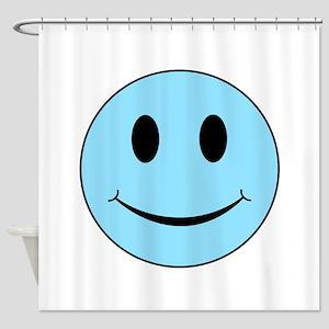 Aqua Smiley Face Shower Curtain
