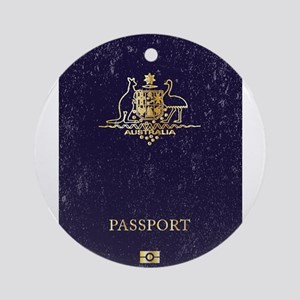 Australian Worn Passport Round Ornament