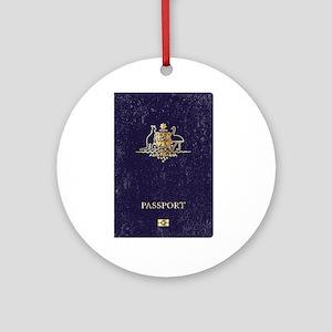 Australian Worn Passport Round Ornament