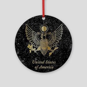 Worn United States of America Passp Round Ornament