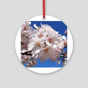 White Cherry Blossoms Round Ornament