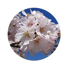 White Cherry Blossoms Round Ornament