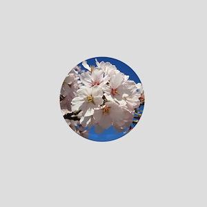 White Cherry Blossoms Mini Button