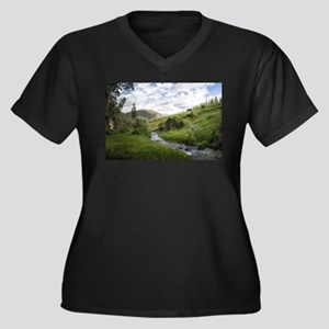 Hillside Pasture with Babbling B Plus Size T-Shirt