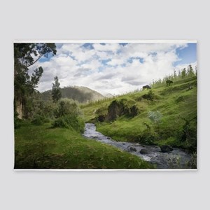 Hillside Pasture with Babbling Broo 5'x7'Area Rug