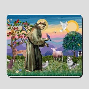 St Francis / Corgi (bm) Mousepad