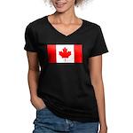 Canadian Flag Women's V-Neck Dark T-Shirt