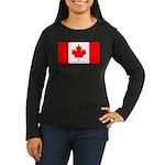 Canadian Flag Women's Long Sleeve Dark T-Shirt