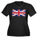 UK Flag Women's Plus Size V-Neck Dark T-Shirt