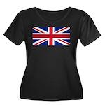 UK Flag Women's Plus Size Scoop Neck Dark T-Shirt