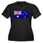 Aussie Flag Women's Plus Size V-Neck Dark T-Shirt