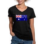 Aussie Flag Women's V-Neck Dark T-Shirt