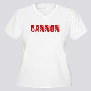 Gannon Faded (Red) Women's Plus Size V-Neck T-Shir