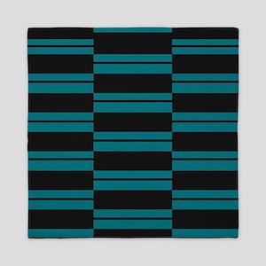 Black and Slate Blue Plank Queen Duvet