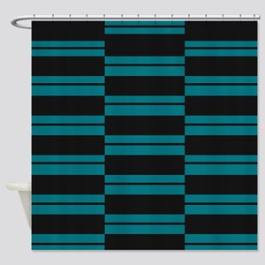 Black and Slate Blue Plank Shower Curtain