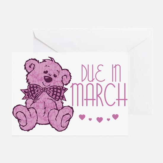 Pink Marble Teddy Due In March Greeting Card