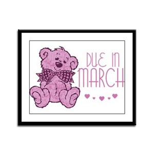 Pink Marble Teddy Due In March Framed Panel Print