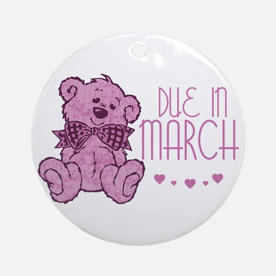 Pink Marble Teddy Due In March Ornament (Round)