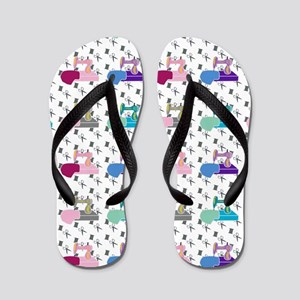 Colorful Sewing Machines Flip Flops