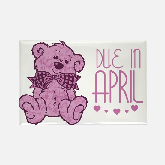 Pink Marble Teddy Due In April Rectangle Magnet