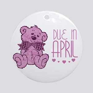 Pink Marble Teddy Due In April Ornament (Round)