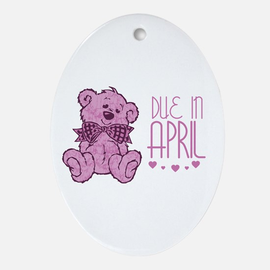 Pink Marble Teddy Due In April Oval Ornament