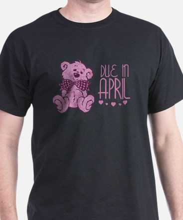 Pink Marble Teddy Due In April T-Shirt
