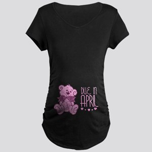 Pink Marble Teddy Due In April Maternity Dark T-Sh