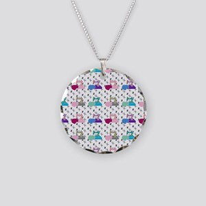 Colorful Sewing Machines Necklace Circle Charm