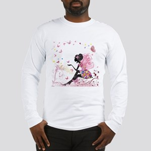 Whimsical Pink Flower Fairy Gi Long Sleeve T-Shirt