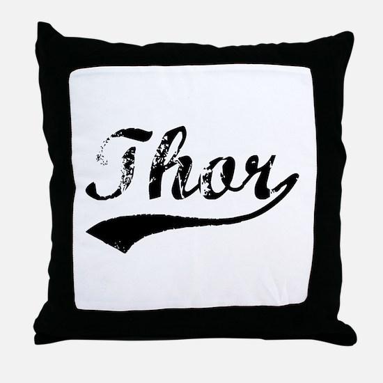 Vintage Thor (Black) Throw Pillow