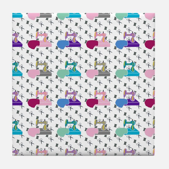Colorful Sewing Machines Tile Coaster