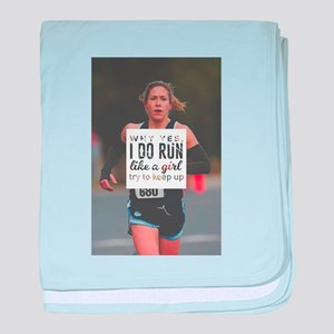 Run Like A Girl Lady Boss Runner Quee baby blanket