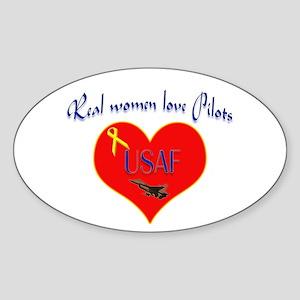 Real Women Pilot Oval Sticker