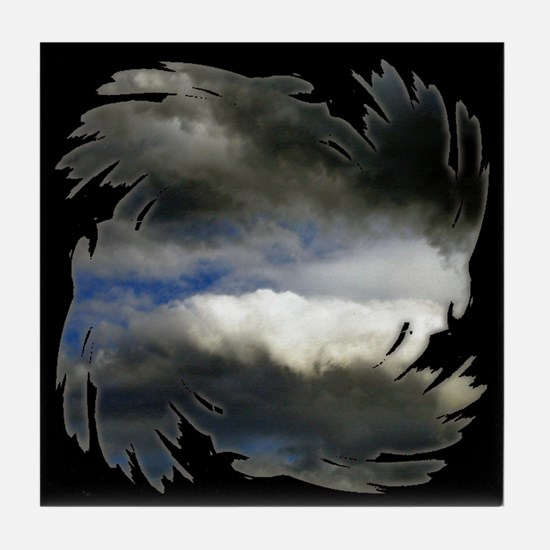 Storm Clouds Black Tile Coaster