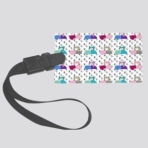 Colorful Sewing Machines Large Luggage Tag
