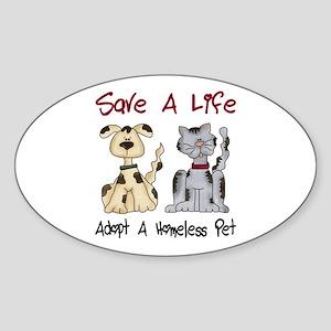 Adopt A Homeless Pet Oval Sticker