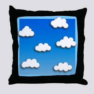 Fluffy clouds and blue sky Throw Pillow