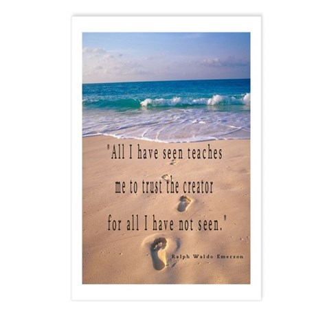 Footprints in Sand-Emerson Postcards (Package of 8