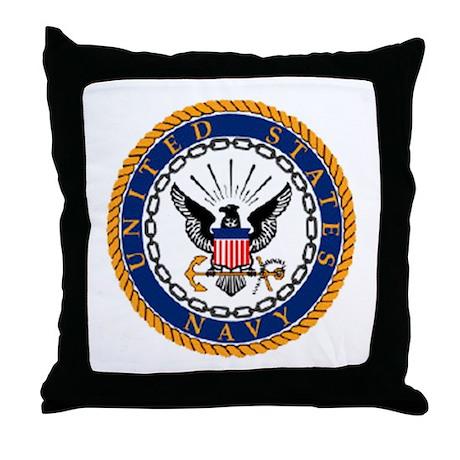 Navy Emblem Throw Pillow