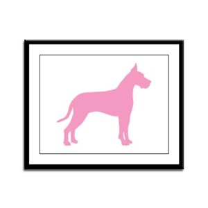 Pink Great Dane Framed Panel Print