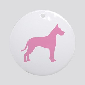 Pink Great Dane Ornament (Round)