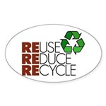 Reuse Reduce Recycle Oval Sticker