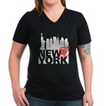 New York Women's V-Neck Dark T-Shirt