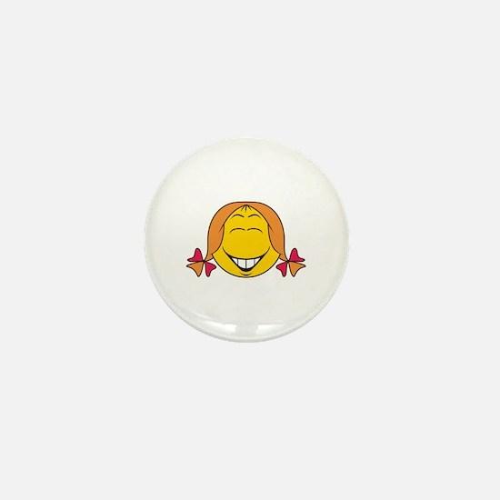 Cute Girl Smiley Face Mini Button