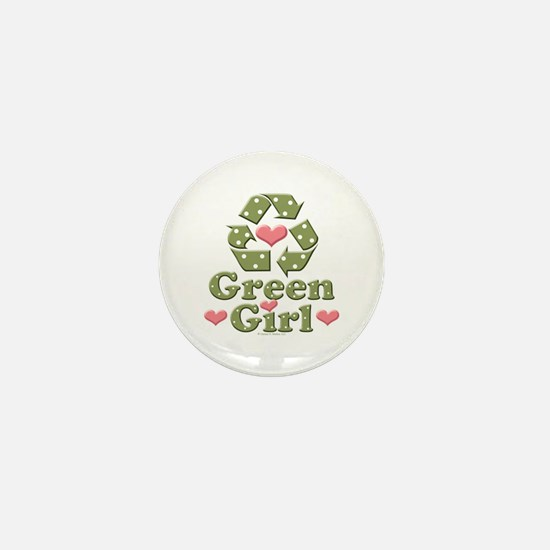 Green Girl Recycling Recycle Mini Button