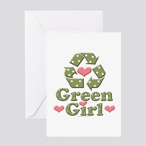 Green Girl Recycling Recycle Greeting Card